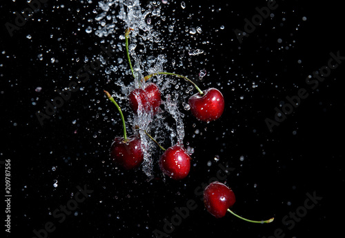 Foto Murales juicy red cherries in water splash on black background