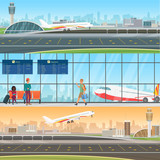 Fototapety Airport detailed horizontal vector banners templates. Aircraft arrivals and departures. Waiting room in terminal with passengers people. Travel concept with taking off and landing airplane.