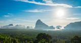 Panorama view of sea and mountain in morning golden hour time,Nature scene,Khao Samed Nang Chee Viewpoint,Phang Nga,Thailand.