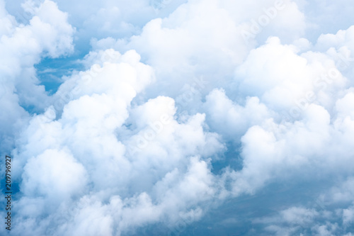 Big Blue sky and Cloud Top view from airplane window,Nature background. - 209796927
