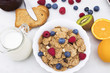 Leinwanddruck Bild - breakfast with fruits and cereals, health and wellness