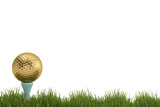 A golden golf ball on tee in grass isolated on white background. 3D illustration.
