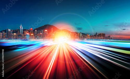 Leinwanddruck Bild Motion speed city background
