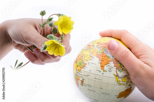 Foto Murales Hand holding a little model  globe and flowers