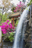 pavilion and waterfall in oriental garden in Hong Kong, China - 209813708