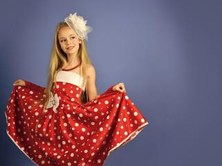 rent of costumes. hairdresser and barbershop. hairdresser, long hair of little girl. © tverdohlib