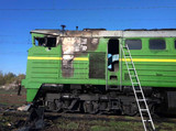 main diesel locomotive after a fire. explosion of a locomotive.MACHINERY DEPARTMENT OF HEATERS