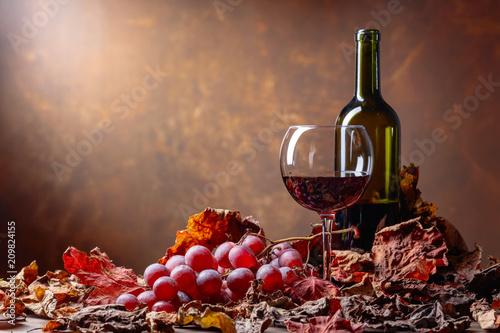 Fototapeta Glass and bottle of red wine .
