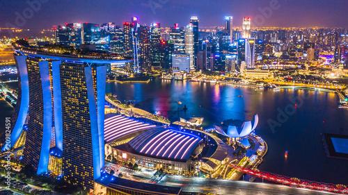Leinwanddruck Bild Aerial top view Singapore city skyline.