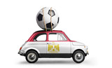 Egypt flag on car delivering soccer or football ball isolated on white background - 209830587