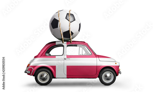 Denmark flag on car delivering soccer or football ball isolated on white background - 209830554