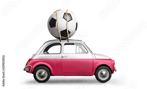 Poland flag on car delivering soccer or football ball isolated on white background - 209830926