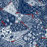 Japanese style fabric patchwork wallpaper, abstract floral vector  seamless pattern  - 209833777