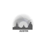 USA United States of America Austin sunrise sunset city panorama landscape skyline flat icon logo