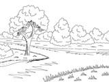 Forest river graphic black white landscape sketch illustration vector - 209835170