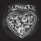 Pizza in the form of a heart. Italian cuisine. Ink hand drawn Vector illustration. Top view. Food element for menu design. - 209835350