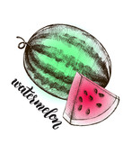 Ink hand drawn Whole Watermelon and Slice. Vector illustration with brush calligraphy style lettering. Elements for design labels, packaging, cards. - 209835579