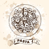 Farfalle pasta with cherry tomatoes. Dish of Italian cuisine. Ink hand drawn Vector illustration. Top view. Food element for menu design. - 209835736
