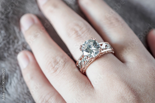 Woman Hand With Jewelry Diamond Ring On Finger Buy Photos Ap