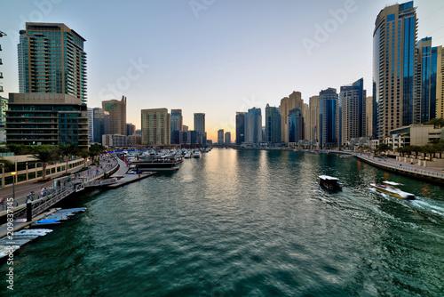 Dubai Marina at beautiful sunset, United Arab Emirates