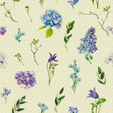 Multi-floral seamless pattern with different flowers. lllustration of a hydrangea, lilac, twigs and other flowers on a beige background. - 209841924