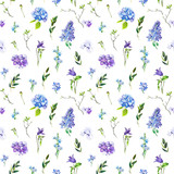 Multi-floral seamless pattern with different flowers. lllustration of a hydrangea, lilac, twigs and other flowers on a white background. - 209841958