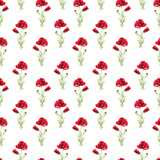 Floral seamless pattern with red poppies. Imitation of watercolor. Drawing with alcohol markers. - 209841989