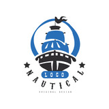 Nautical logo original design, retro badge with ship for nautical school, sport club, business identity, print products vector Illustration on a white background - 209842116