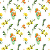 Floral seamless pattern with yellow orchid, orange iris and twigs. Art by markers. Imitation of watercolor drawing. - 209842131