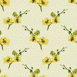 Floral seamless pattern with yellow orchid and twigs. Art by markers. Imitation of watercolor drawing. - 209842148