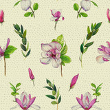 Floral seamless pattern with pink magnolias and twigs. Vintage art by markers. Imitation of watercolor drawing. - 209842176