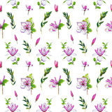 Floral seamless pattern with pink magnolias and twigs. Art by markers. Imitation of watercolor drawing. - 209842193