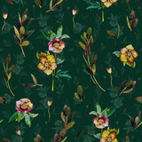 Floral seamless pattern with green Helleborus and twigs. Art by markers on dark green background. Imitation of watercolor drawing. - 209842317