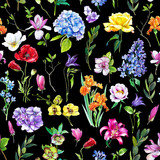 Multi-floral seamless pattern with different flowers. Bright and colorful illustration of a hydrangea, lilac, rose, orchid and other flowers on a black background. - 209842340