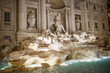 View of the Trevi Fountain in the center of Rome