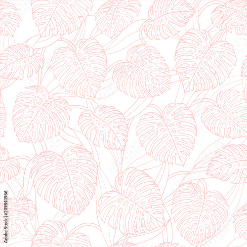 Vector tropical repeat pattern with monstera leaves outline on the white background. Backdrop design in pink pastel colors. - 209844966