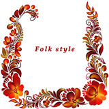a frame with a flower ornament in a folk style - 209846919