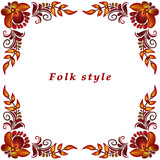 a frame with a flower ornament in a folk style - 209846940