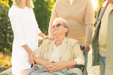 Senior woman in wheelchair with nurse from care home and her friends outdoors - 209848131