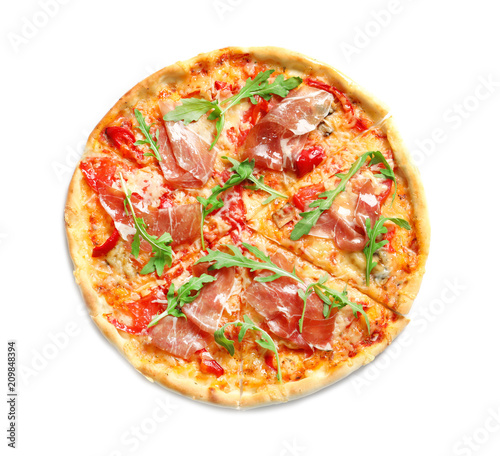 Tasty hot pizza with meat on white background - 209848394