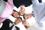 People standing together against white background, view from below. Unity concept - 209848734