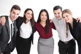 People standing together against white background. Unity concept - 209848758