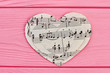 Leinwanddruck Bild - Collection of paper hearts with musical notes. Music love background.