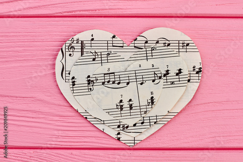 Leinwanddruck Bild Collection of paper hearts with musical notes. Music love background.