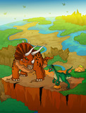 Fototapeta Dinusie - Triceratops and raptor with landscape background. Vector illustration. © Максим Ковальчук
