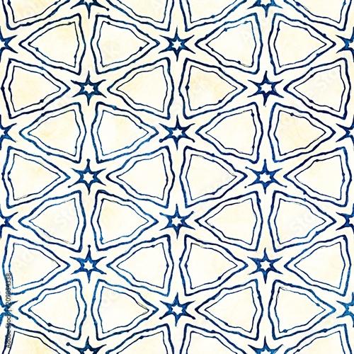 Native batik seamless watercolor artistic boho style colorful square pattern. - 209854338