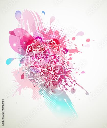 abstrakta-barwiony-kwiatu-tlo-z-okregami-i-mandala