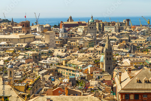 Foto Murales View of Genoa, cityscape of historical centre and the port, Liguria, Italy.