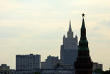 2018.06.17, Moscow, Russia. Panoramic cityscape of Moscow. Silhouettes of Moscow buildings on evening sky background.