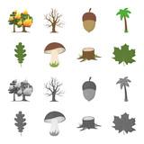 Oak leaf, mushroom, stump, maple leaf.Forest set collection icons in cartoon,monochrome style vector symbol stock illustration web. - 209867983